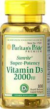 Puritan's Pride Super Potency 2000 IU Vitamin D3 100 softgels dietary supplement