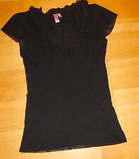 SWEET PEA ANTHROPOLOGIE BLACK MESH SCOOP NECK ruffle trim TUNIC SHIRT TOP L