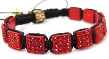 Red Pave Crystal Square Shamballa Hip Hop Bracelet #1 One Size NEW