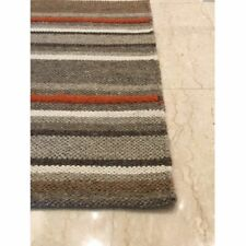 CRATE & BARREL Lia Rug 4' x 6' Cotton Wool Blend Gray Brown Tan NEW