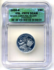 New listing Icg Pr70Dcam 2000 S Silver Proof South Carolina State Quarter Uncirculated Coin