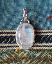 475 Rainbow Moonstone Solid 925 Sterling Silver oval shape pendant rrp$39.95