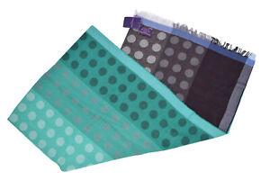 Seaward & Stearn NWT Wool Scarf In Light Green & Burgundy W/ Gray Polka Dots