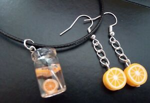 A Fun Set Polymer Clay ORANGE FRUIT Earrings and Glass Drink Necklace SUMMER FUN