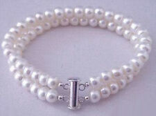 2 Rows Real White Pearl White Gold Plated Clasp Bangle Bracelet