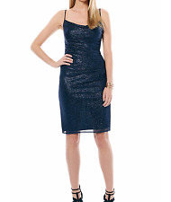 LAUNDRY BY SHELLI SEGAL RUCHED METALLIC KNIT SLIP DRESS SIZE 4 $225.00 MSRP