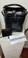 NWT BRAHMIN Amelia Black Veil Bucket Bag  $385 /Mini Suri Black Veil Wallet $215