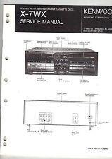 Original Kenwood Service Manual X-7WX dual cassette tape deck player Repair book