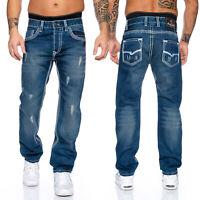 Rock Creek Designer Herren Jeans Hose dicke weisse Zier Nähte Denim Blau RC-2084
