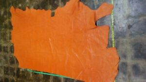 Italian Cowhide leather skin Embossed Lizard Orange 35 By 65 Inches  1.5 oz Thin