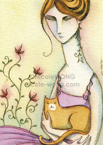 "Wong ACEO Watercolor Drawing Painting ""Sitting in the Garden"" Cats pets fantasy"