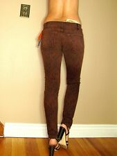 Current/Elliott $198 Ankle Skinny Cinnamon Brown Python Animal Print Jeans 26