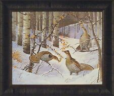 RUFFED GROUSE by Les Kouba 20x24 Snow Trees Birds Woods FRAMED ART PRINT PICTURE