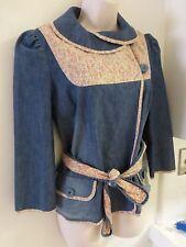 MANOUSH SZ 40 FR/ 8  Blue denim /floral print pastel jacket blazer