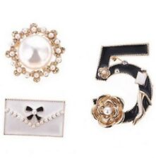Designer Inspired Brooch Pearls Crystals Set Of 3 Gold Tone Glamour Brooches NEW
