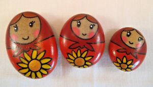 Hand painted rocks, stones, pebbles. Matryoshka, Russian Doll, fridge magnet.
