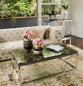 Hemin Stainless Steel Coffee Table With Brown Marble Top(+FREE gear clock)