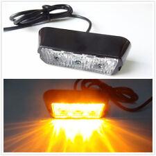 3 LED Work Vehicle Flashing Strobe Emergency Warning Side Grill light Amber 12V