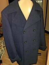 Jos A Bank Mens  Double Breasted Overcoat Peacoat Size  BLUE BLACK TWEED NWTS  L