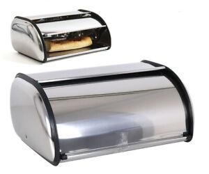 Bread Bin Roll Top Kitchen Storage Stainless Steel Container 35.5X23X14.5CM