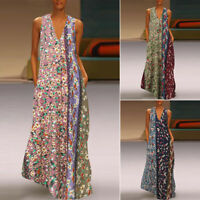 ZANZEA Womens Sleeveless Floral Maxi Dress Summer Casual Print Long Dress Kaftan