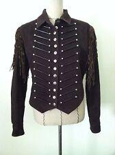 "Double D Ranch M women jacket brown biker western Indian fringe ""horn"" silver"