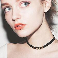 Women LADY 90s Vintage Gothic lolita Emo Black Tattoo Grunge Choker Necklace