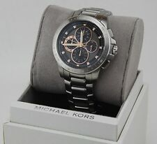 NEW AUTHENTIC MICHAEL KORS RYKER SILVER GREY CHRONOGRAPH MEN'S MK8528 WATCH