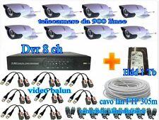 KIT DVR 8CH H264 VIDEOSORVEGLIANZA+8 TELECAMERE 900TVL+CAVO LAN UTP 305m+HDD 1Tb