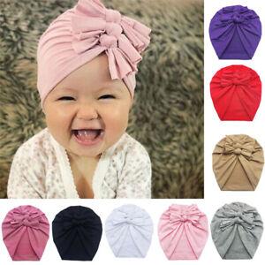 Baby Infant Cute Turban Hat Toddler Beanie Bonnet Caps Cotton Bow Knot Headwraps
