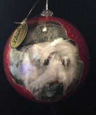 Katherine's Collection Retired Benji Dog Red Glitter Ball Ornament