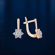 Russische Rose Rotgold 585  CLUSTER Kinder-Ohrringe mit CZ Snapverschluss