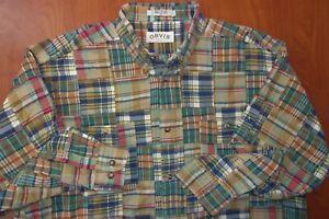 Orvis India Cotton Madras Plaid Patchwork Button Down Casual Ls Shirt XL