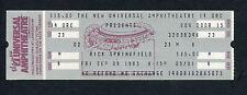 1983 Rick Springfield Full Unused Concert Ticket Living In Oz Jessie's Girl