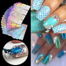8 Sheets Nail Art Irregular Grid Stencil Vinyl Hollow Stickers Stamping Template