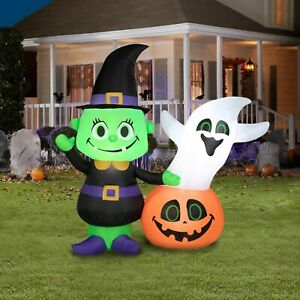 Airblown Inflatable Blow-Up Halloween Witch and Ghost Pumpkin Yard Lawn Decor 4'