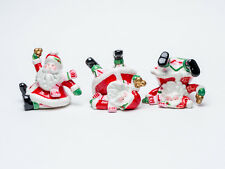 Retired 2006 Fitz & Floyd 3 Mingle Jingle Be Merry Tumbling Santa Figurines Excl