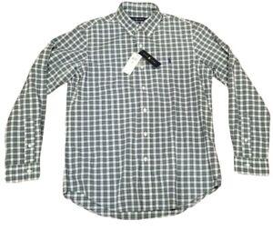 NWT Ralph Lauren Green Plaid Classic Long Sleeve Dress Shirt Navy Pony $85 MSRP