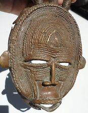 African brass / bronze Baule Senufo Art style Masks with three horns .Rare