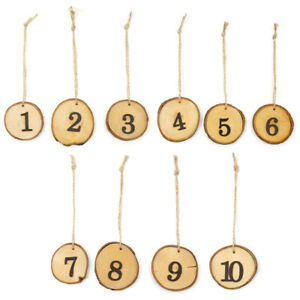 Rustic Wooden Wedding Original Tree Piece 1-10 Number Slices Table Wall Ornament