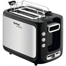 Tefal TT3650 Edelstahl-Schwarz Toaster Krümelschublade 850 Watt Stopptaste