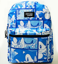 "Sonic The Hedgehog Large School Backpack 16"" All Over Print Gamer Book Bag Sega"