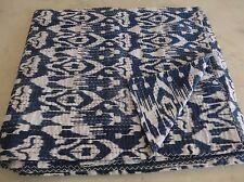 Blue Indian Ikat Kantha Quilt Embroidered Bedspread Throw Gudri Queen Blanket 01