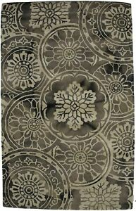 Hand-Tufted Brownish Gray Floral Style 5X8 Modern Rug Oriental Wool Decor Carpet