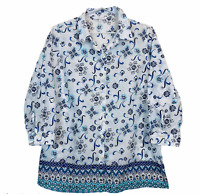W Lane Womens White/Blue Floral Long Sleeve Button Up Blouse Size 12