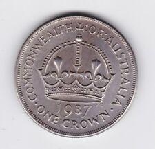 1937 Sterling Silver Crown Coin Australia King George V1 nice sharp detail K-389