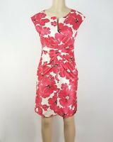 Dressbarn Dress Womens Size 6 Red White Floral V Neck Sleeveless Party