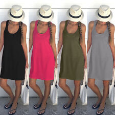 Womens Sleeveless Long Dresses Casual Party Evening Cocktail Army Green S LZF07