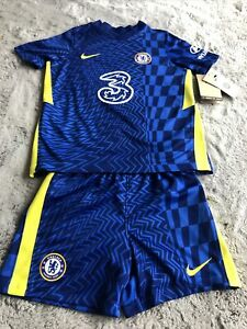 Chelsea FC Kids Blue Home Shirt 2021/22 - Age 6/7 Shirt And Shorts 116-122cm