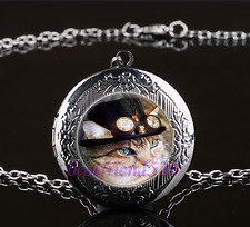 Steampunk Cat Photo Cabochon Glass Gun Black Locket Pendant Necklace